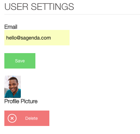 sagenda booking website user settings