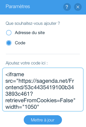 wix.com HTML iframe personnalisé