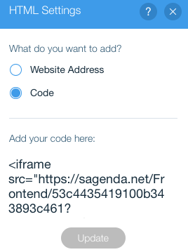 Пользовательский wix.com HTML iframe