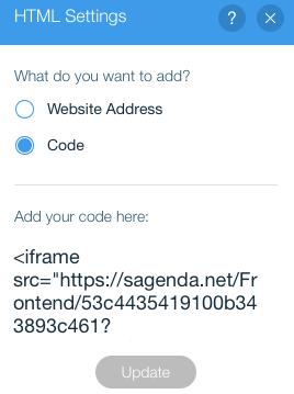 wix.com custom HTML iframe