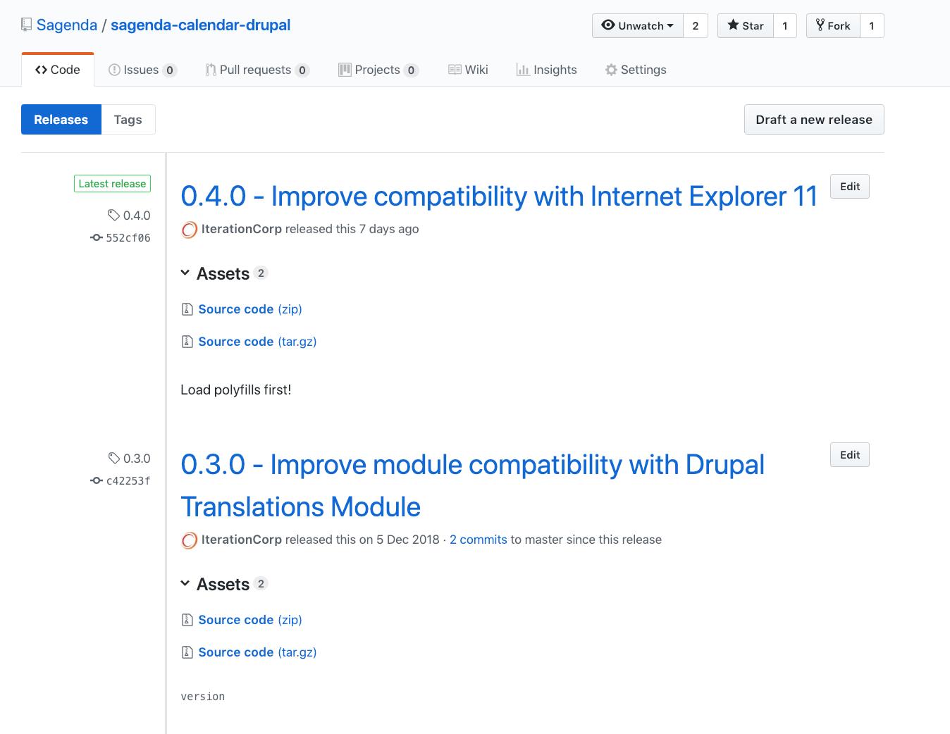 Drupal Calendar GitHub