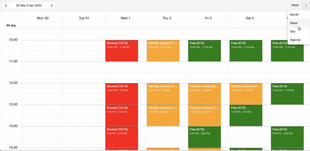 This is the weekly calendar view